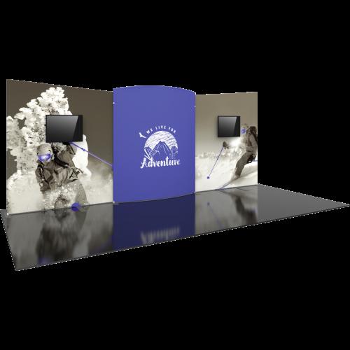 20 ft angular tension fabric backwall with 2 monitor mounts