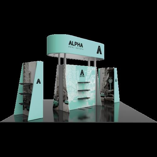 20x20 island hybrid modular trade show display kit