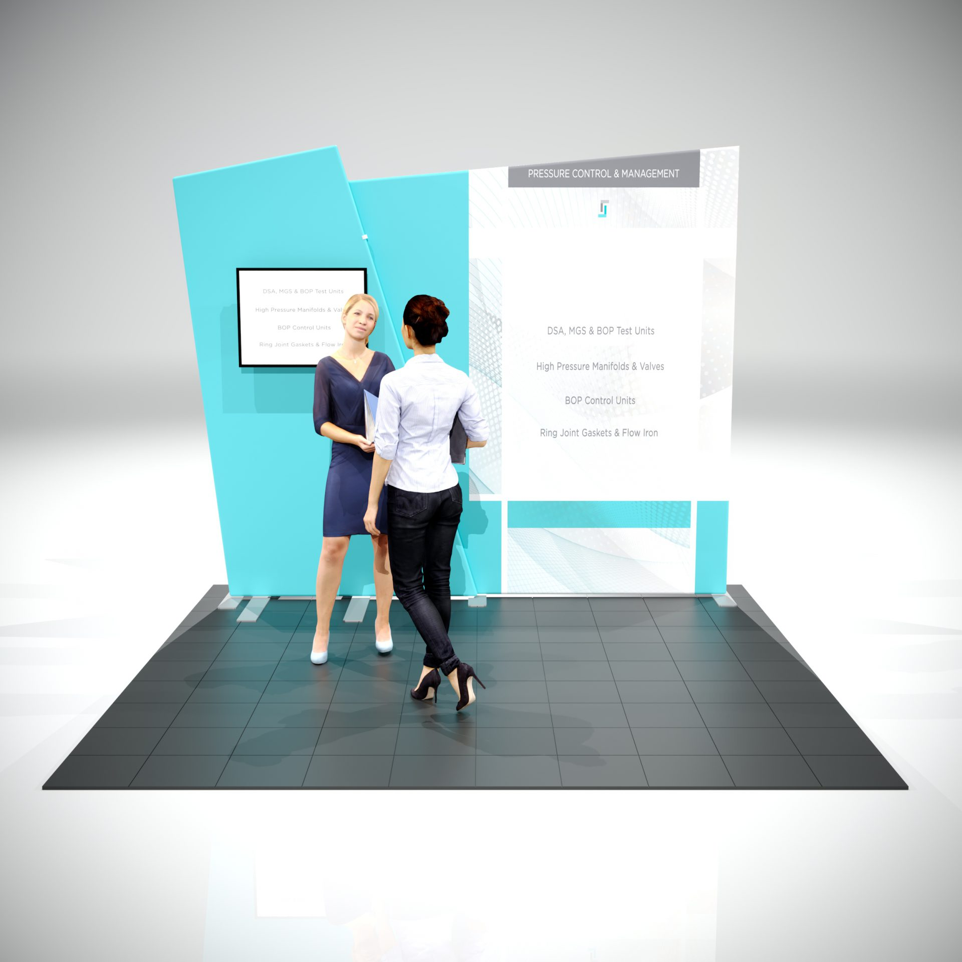 angled top 10 ft trade show display with monitor mount