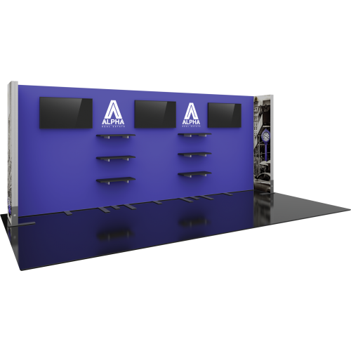 20 ft hybrid modular display backwall with shelving and monitor mount