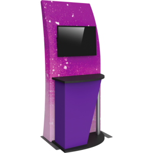 3×8 Tension Fabric Kiosk with Monitor Mount and Counter
