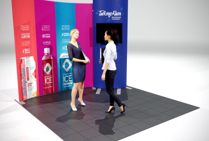 10′ Fabric Backwall trade show Display with Curved Monitor Kiosk view from the left