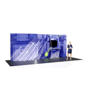 20' Wave Curve Tension Fabric Display Back Wall with Accent Ladder and Monitor Mount left
