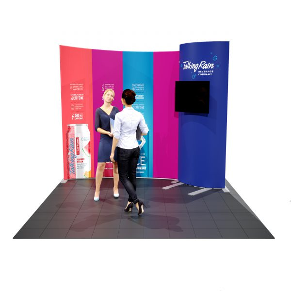 10′ Fabric Backwall Display with Curved Monitor Kiosk front