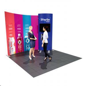 10′ Fabric Backwall Display with Curved Monitor Kiosk left with people
