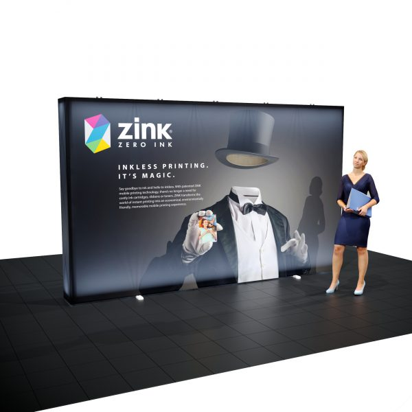 12.5′ Backlit Double-Sided Tension Fabric Display left person standing there