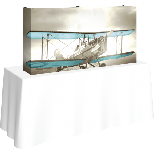 5FT STRAIGHT TABLETOP TENSION FABRIC DISPLAY KIT left