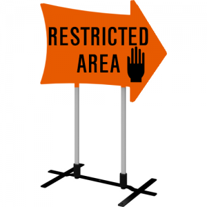 Restricted area arrow sign right