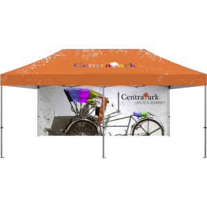 Custom Printed Full Wall for 20′ Outdoor Tent front