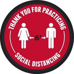 6 ft social distancing floor decal
