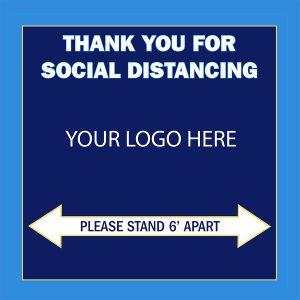 Customizable Social Distancing Floor Decal square blue