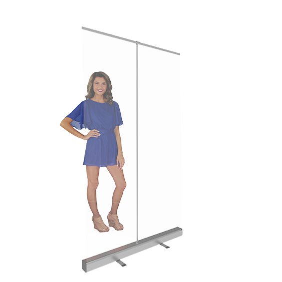 """47.25"""" retractable banner shield with model"""