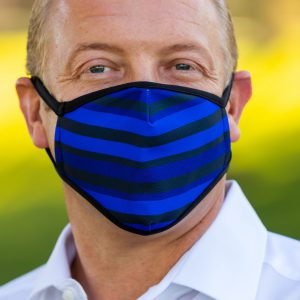 Men's Blue Striped Face Covering Center