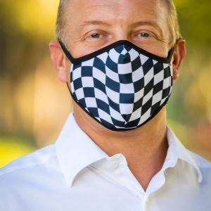 Men's Checkerboard Face Covering front