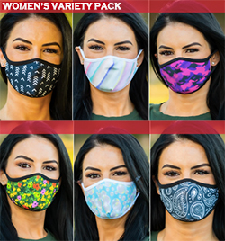 6 Pack of Women's Variety Face Coverings collage front